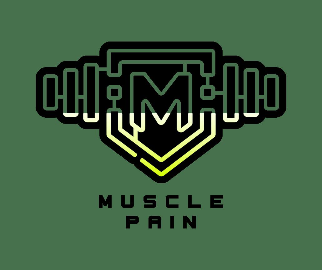 muscle pain logo schwarz gelbverlauf