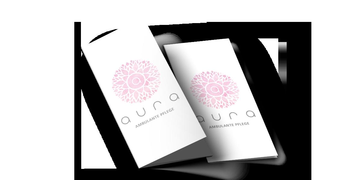Werbeagentur Muelheim grafikdesign trifold flyer aura pflege aussen