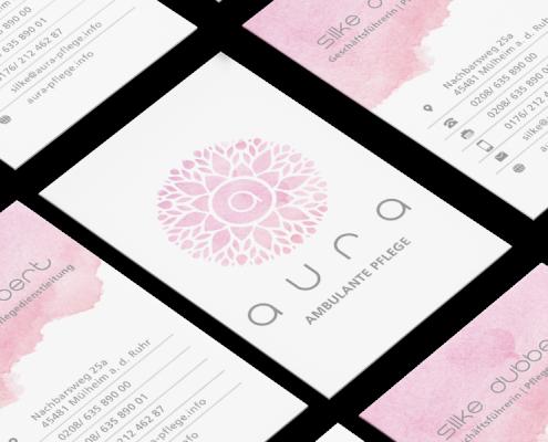 Werbeagentur Muelheim grafikdesign visitenkarte aura pflege