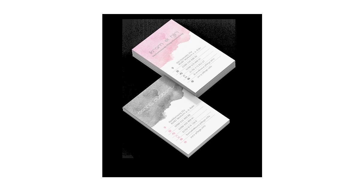 Werbeagentur Muelheim grafikdesign visitenkarte aura pflege varianten