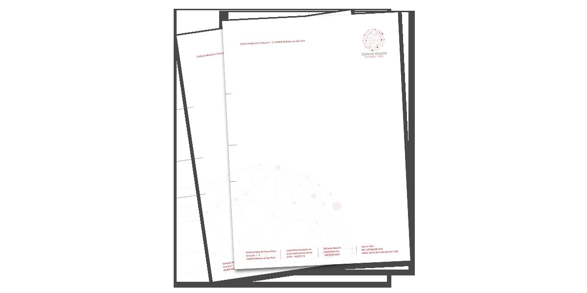 Werbeagentur Muelheim Oberhausen Grafikdesign briefpapier stefaniewaschkconsulting