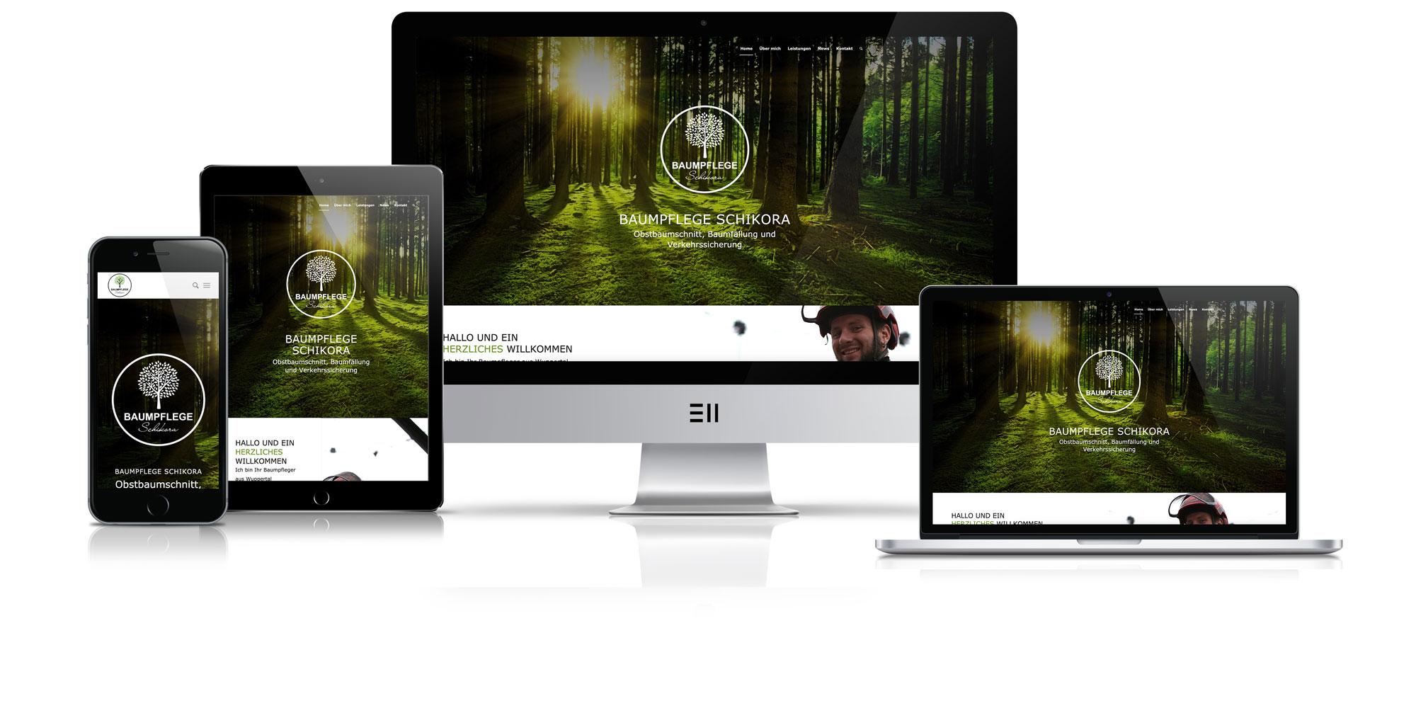 Bild zur Veranschaulichung responsiven Webdesigns Schikora Baumpflege